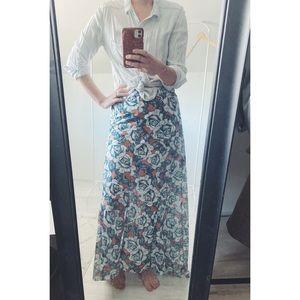 Topshop Floral High Low Maxi Skirt